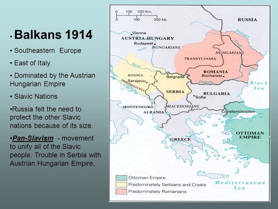 Balkans 1914 Southeastern Europe. East of Italy. Dominated by the Austrian Hungarian Empire. Slavic Nations.