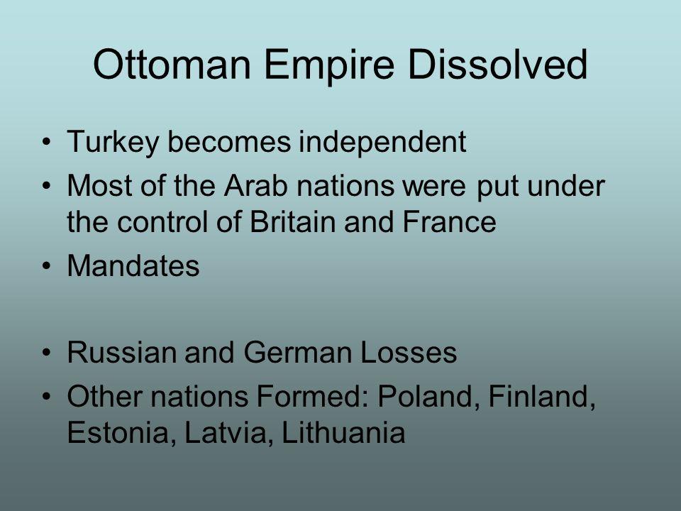 Ottoman Empire Dissolved