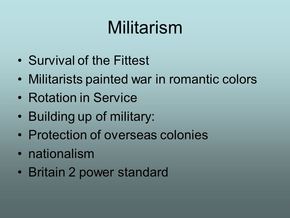 Militarism Survival of the Fittest
