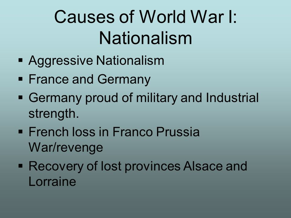 Causes of World War I: Nationalism