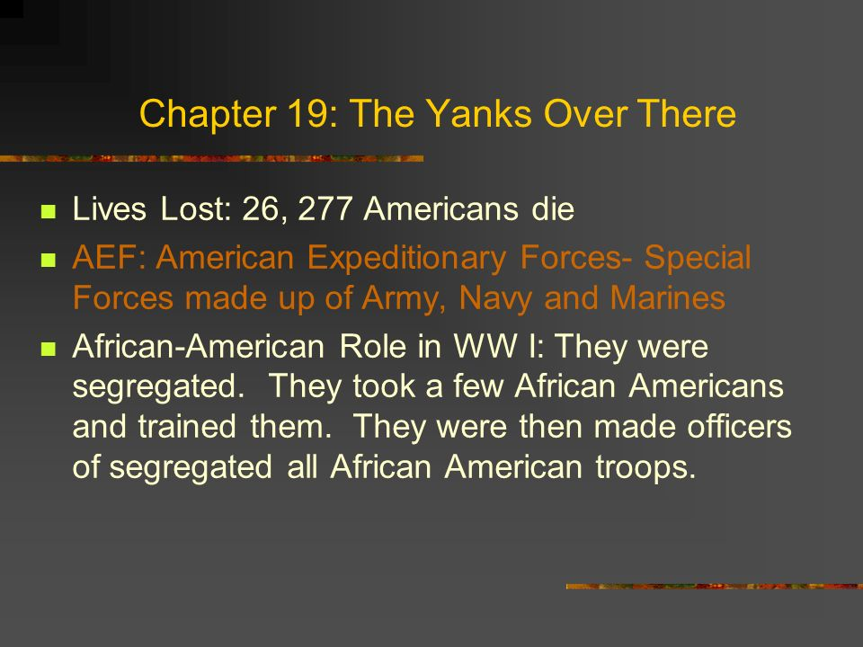 Chapter 19: The Yanks Over There