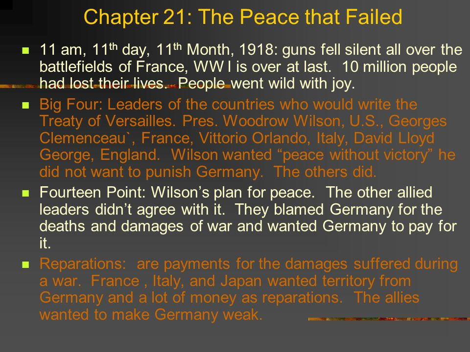 Chapter 21: The Peace that Failed