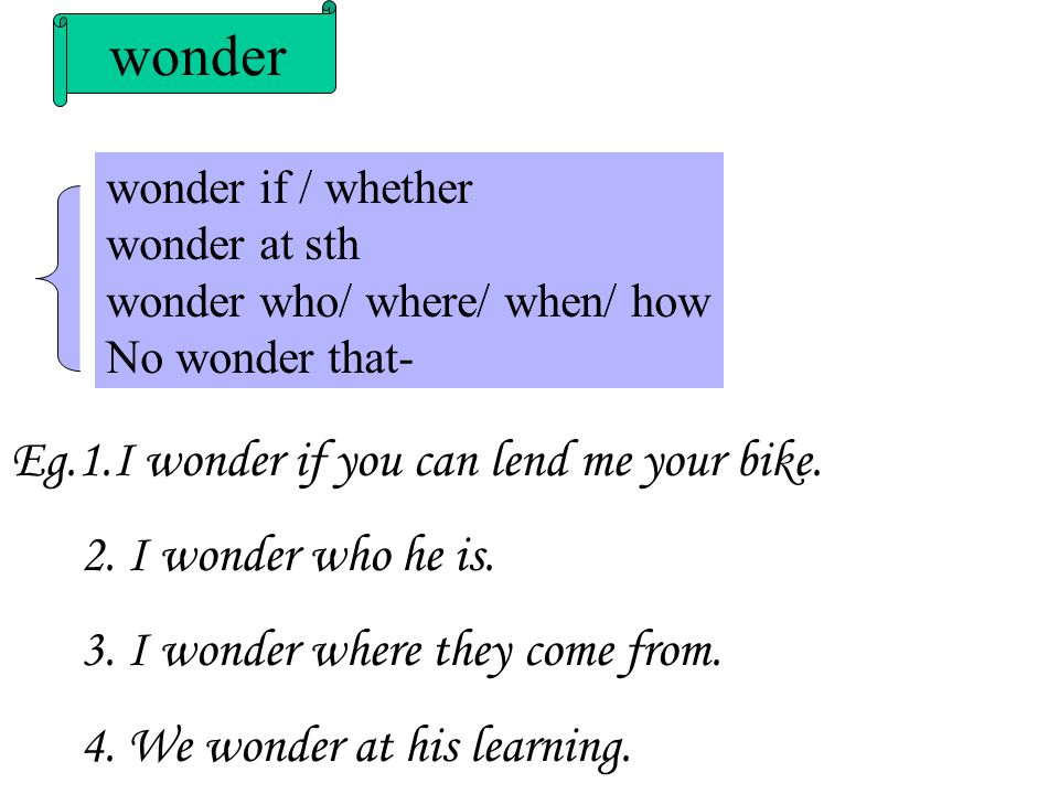 wonder Eg.1.I wonder if you can lend me your bike.