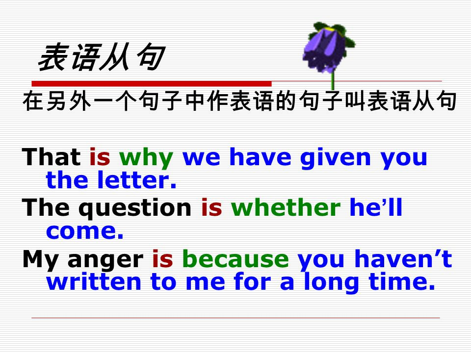 表语从句 That is why we have given you the letter.
