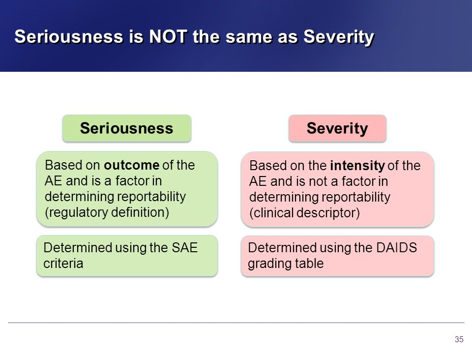 Seriousness is NOT the same as Severity