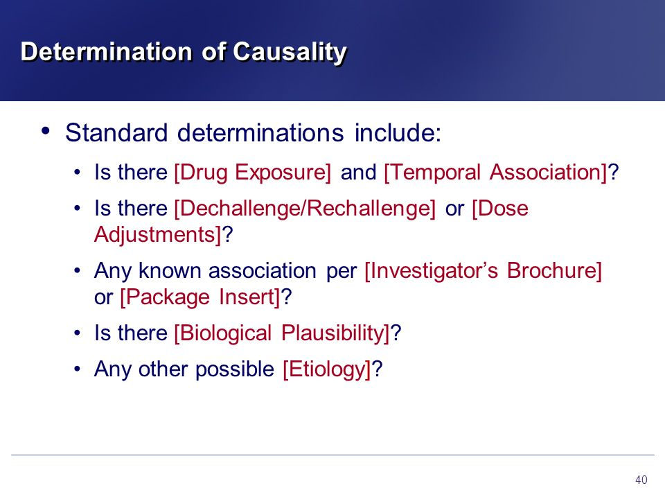 Determination of Causality