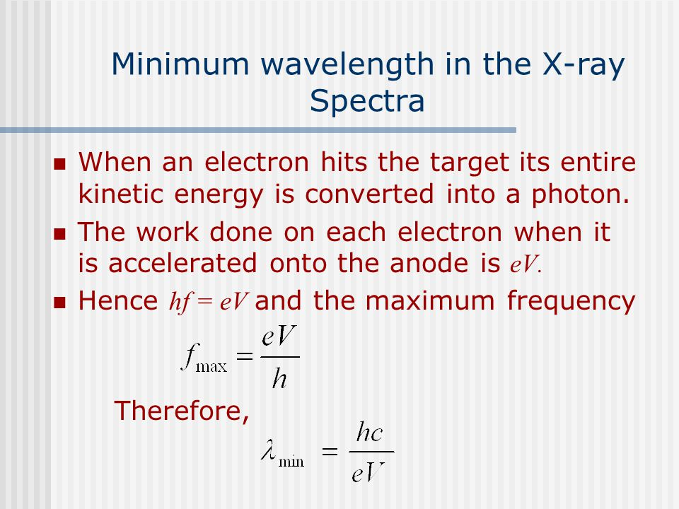 Minimum wavelength in the X-ray Spectra