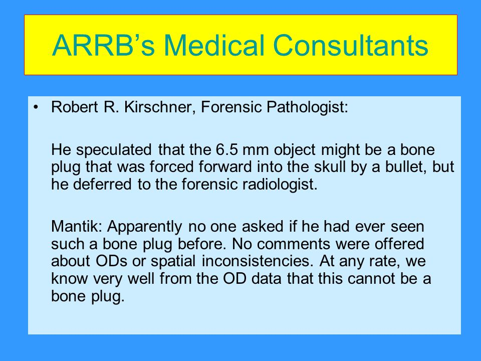 ARRB's Medical Consultants