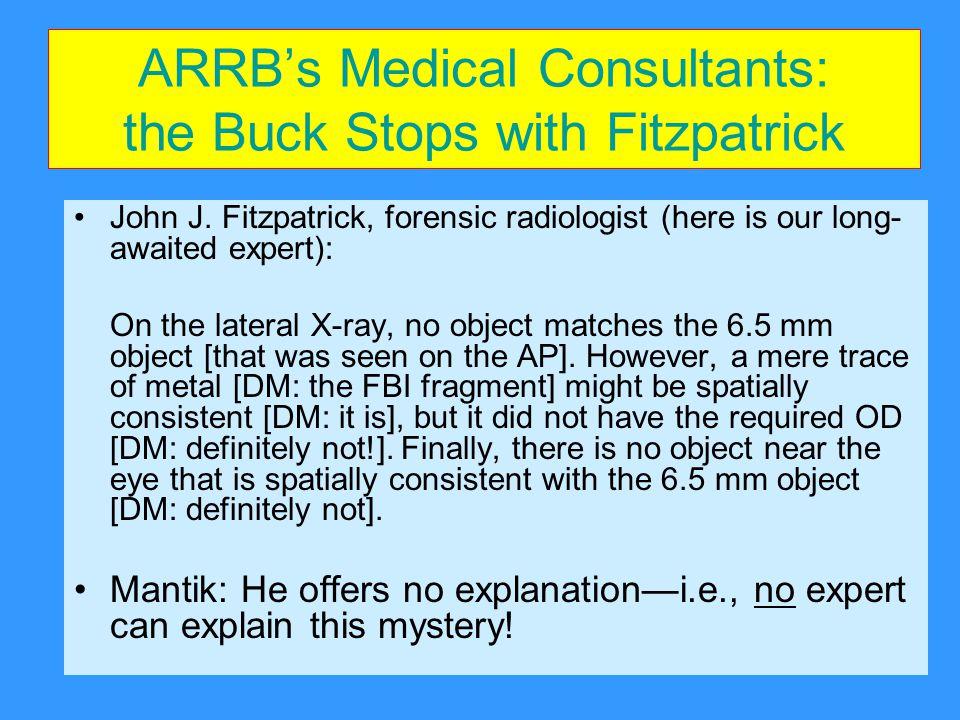ARRB's Medical Consultants: the Buck Stops with Fitzpatrick