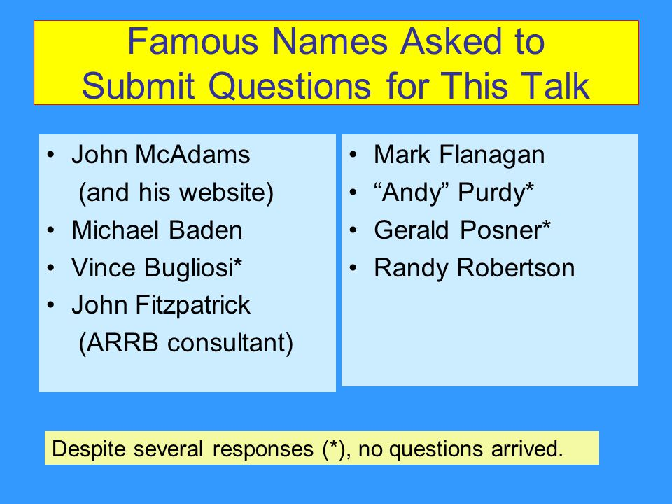 Famous Names Asked to Submit Questions for This Talk