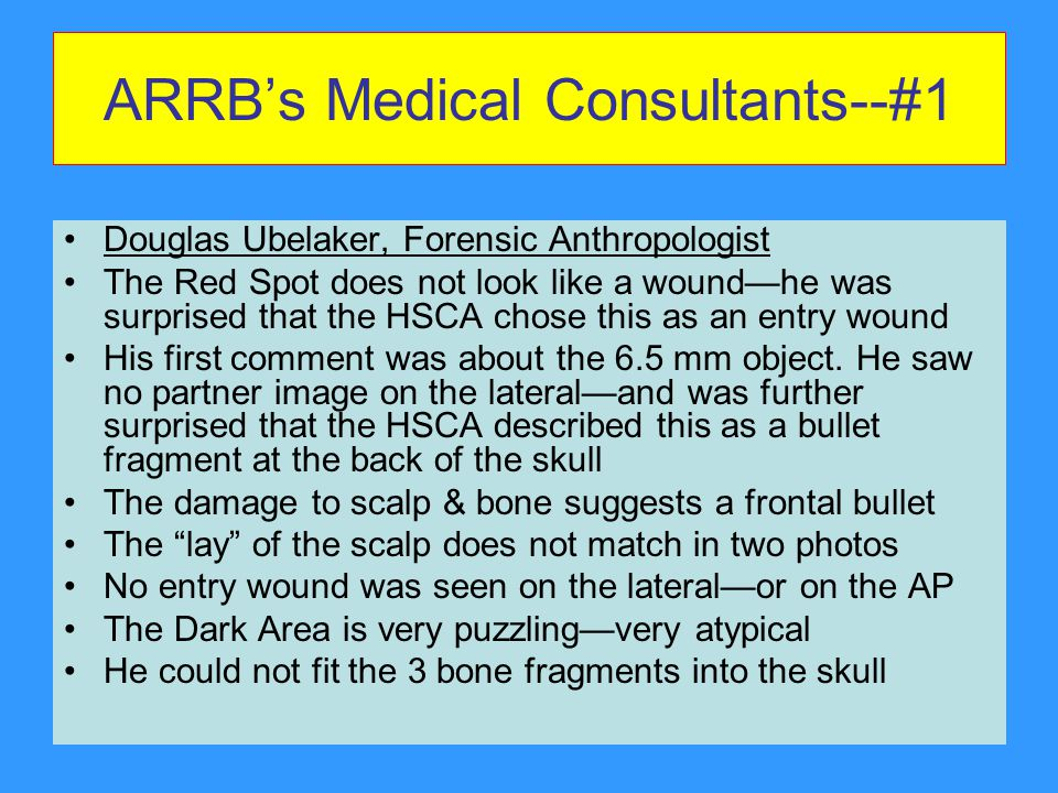 ARRB's Medical Consultants--#1