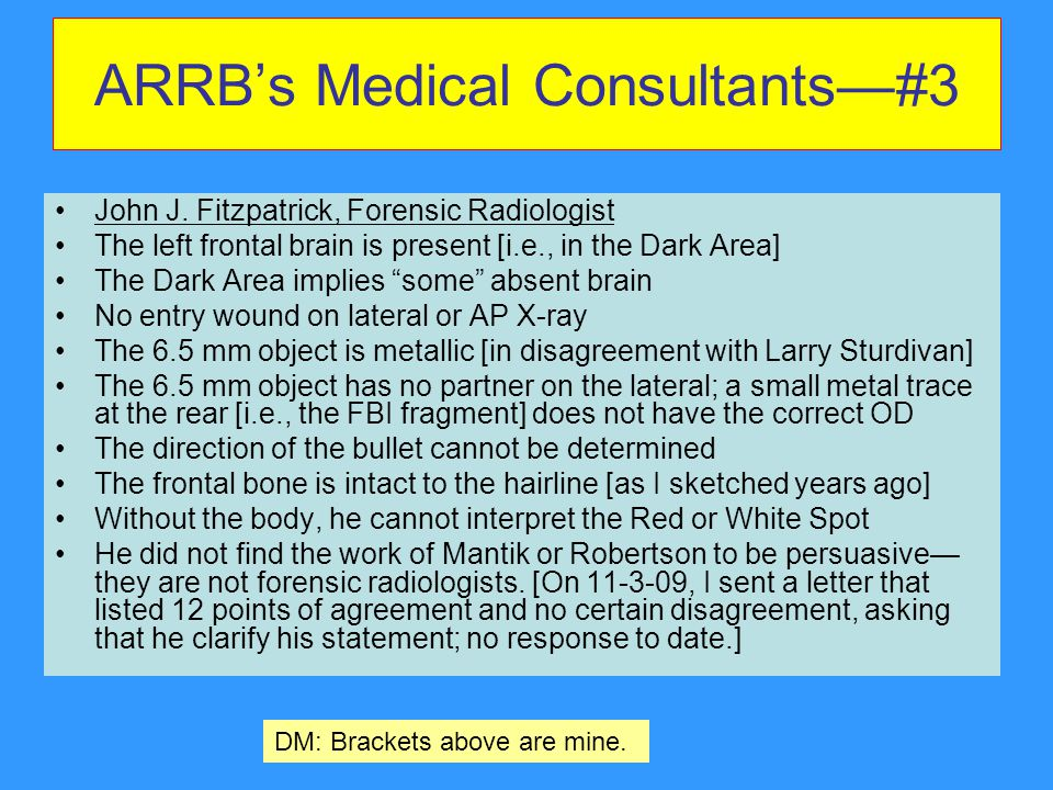 ARRB's Medical Consultants—#3