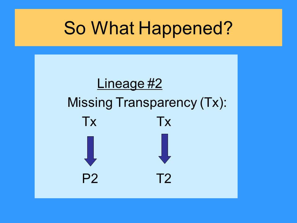 So What Happened Lineage #2 Missing Transparency (Tx): Tx Tx P2 T2