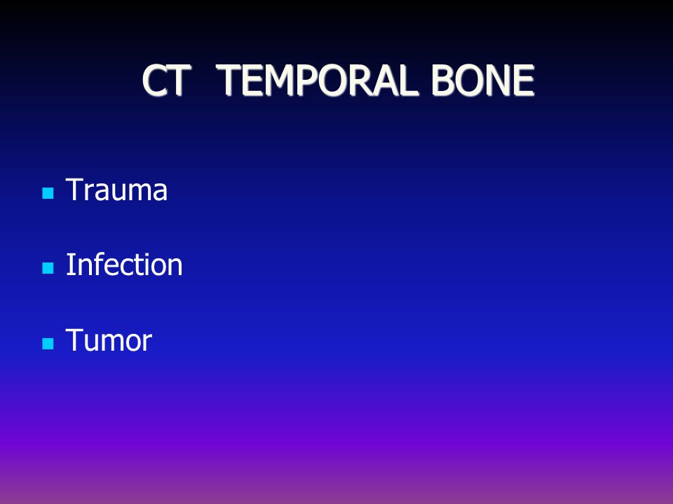 CT TEMPORAL BONE Trauma Infection Tumor