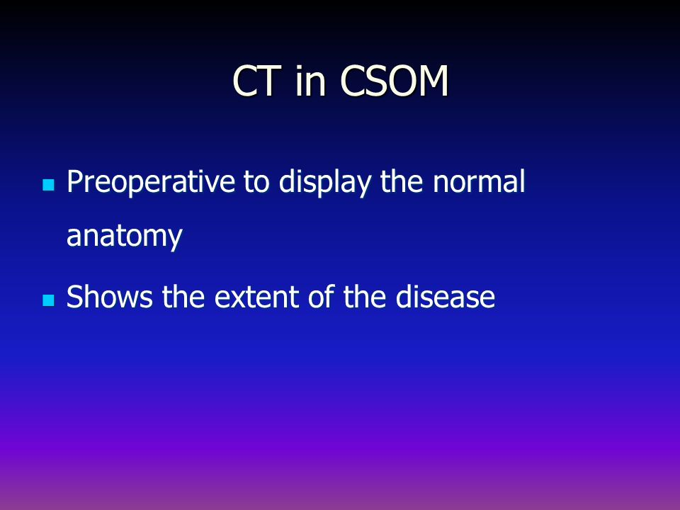 CT in CSOM Preoperative to display the normal anatomy