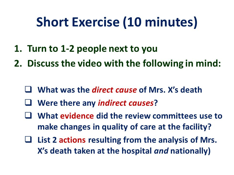 Short Exercise (10 minutes)