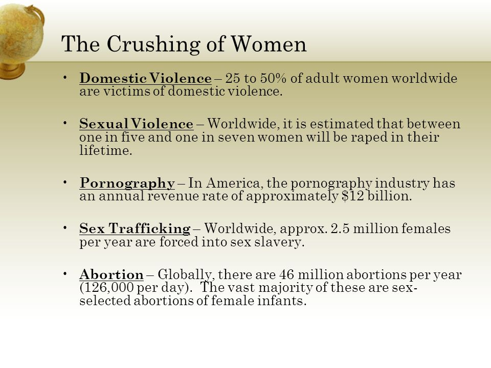 The Crushing of Women Domestic Violence – 25 to 50% of adult women worldwide are victims of domestic violence.