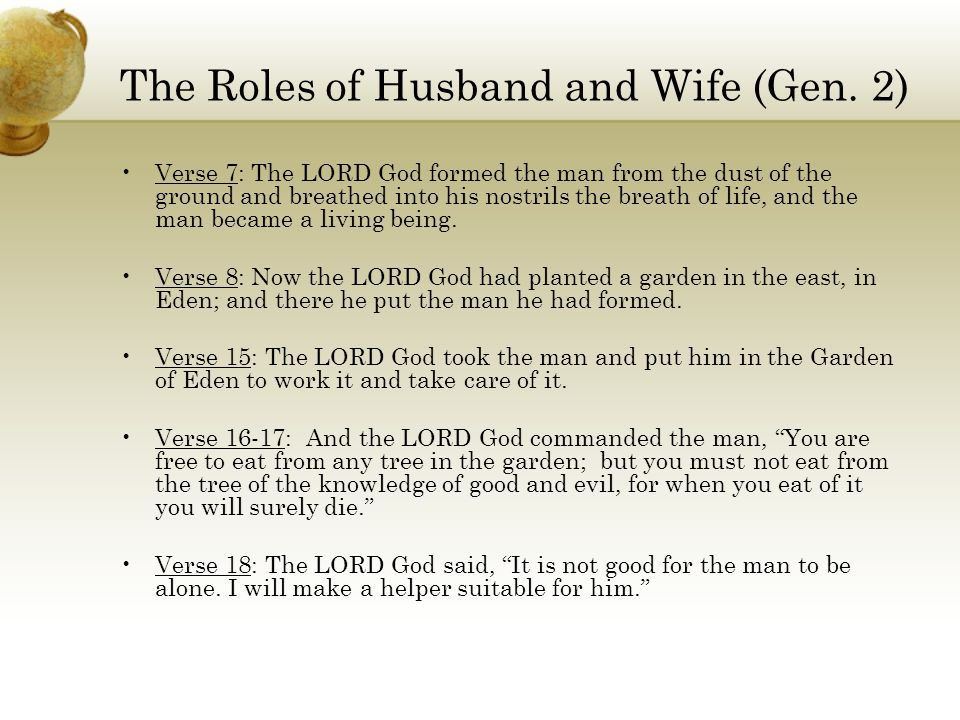 The Roles of Husband and Wife (Gen. 2)