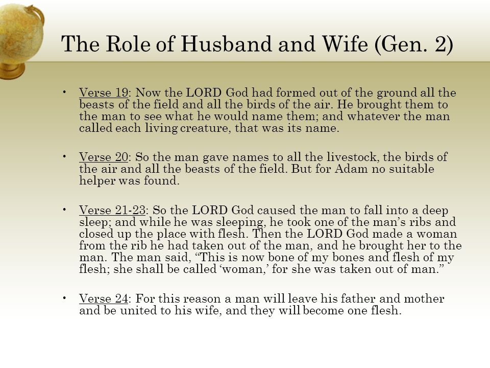 The Role of Husband and Wife (Gen. 2)