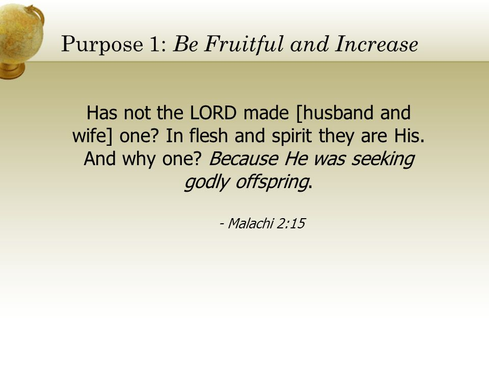 Purpose 1: Be Fruitful and Increase
