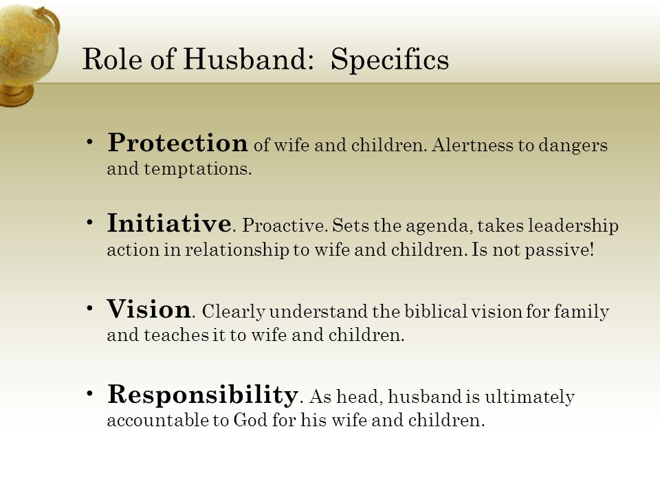 Role of Husband: Specifics