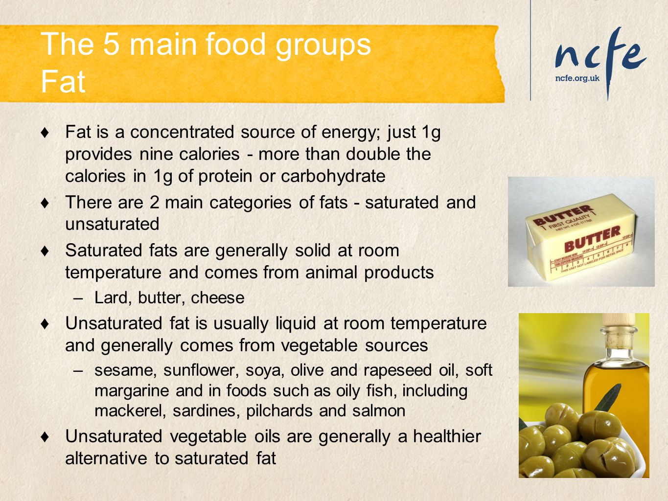 The 5 main food groups Fat