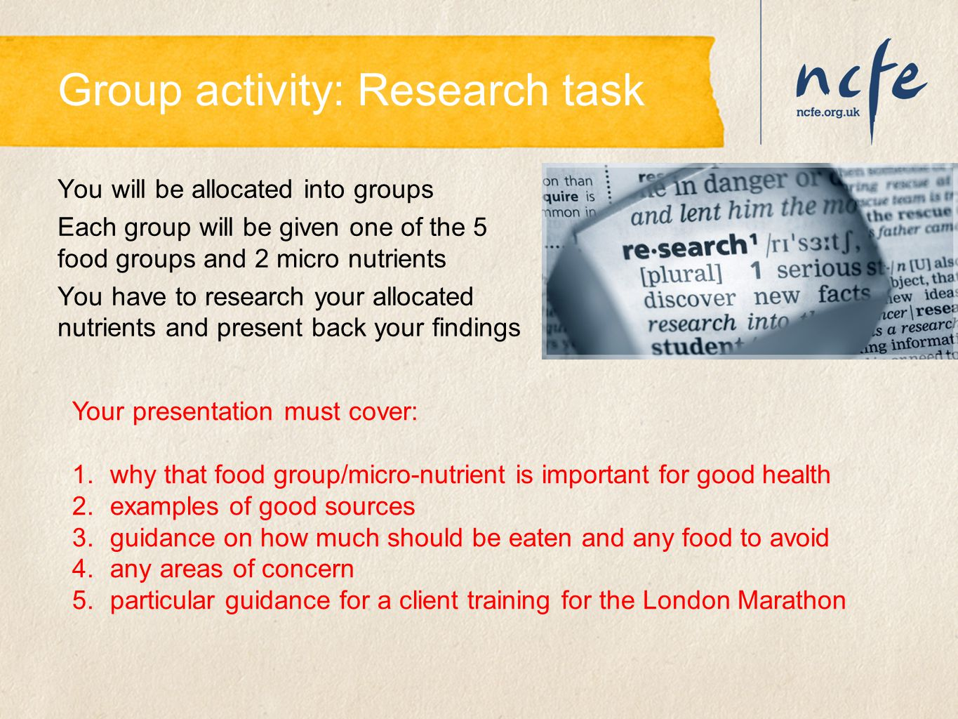 Group activity: Research task