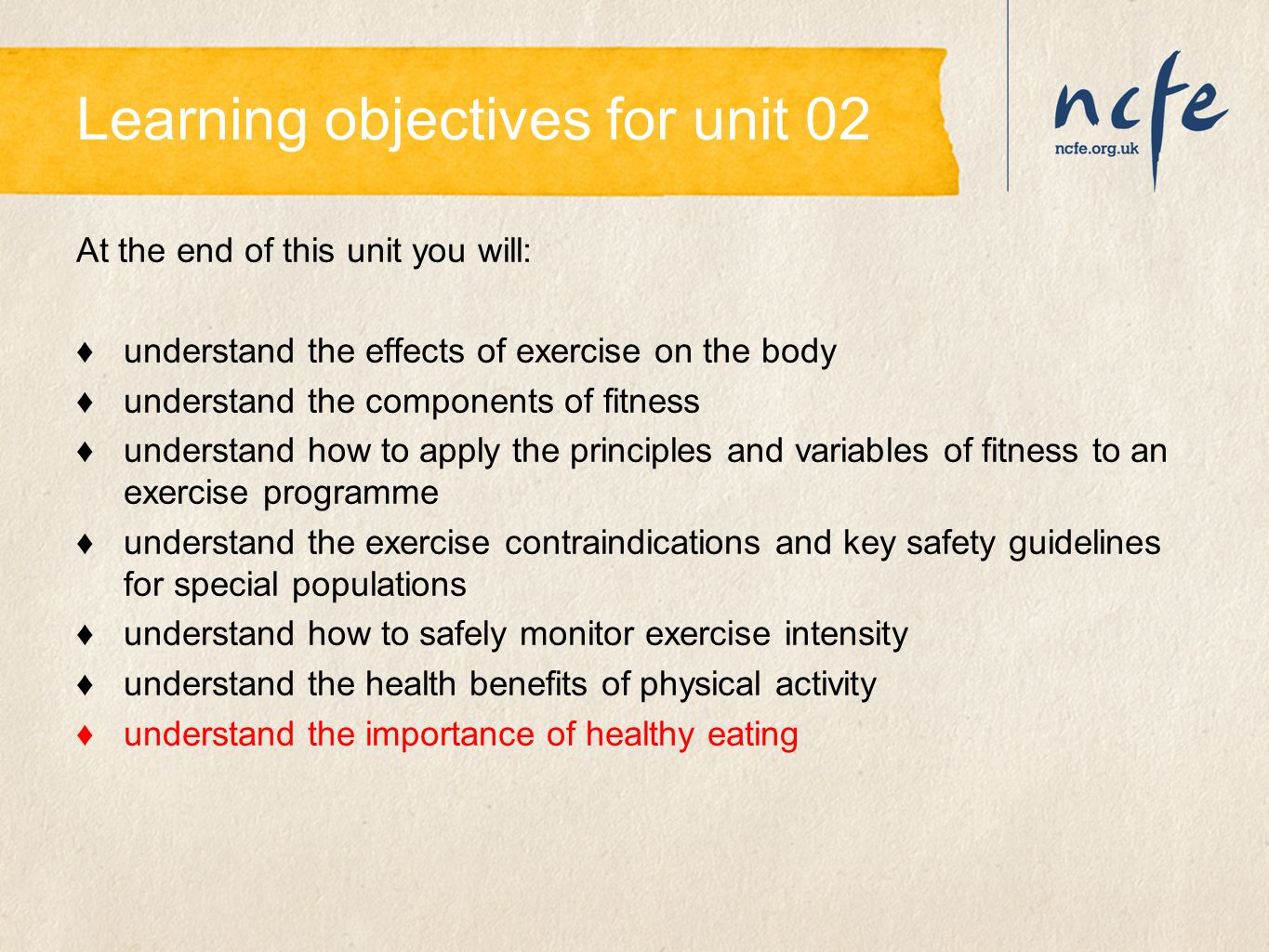 Learning objectives for unit 02