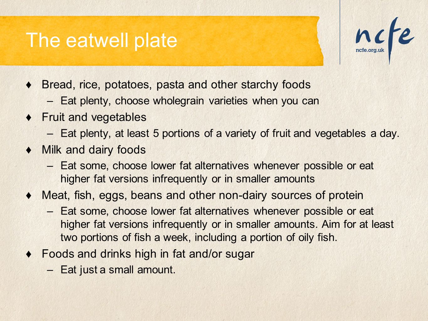The eatwell plate Bread, rice, potatoes, pasta and other starchy foods