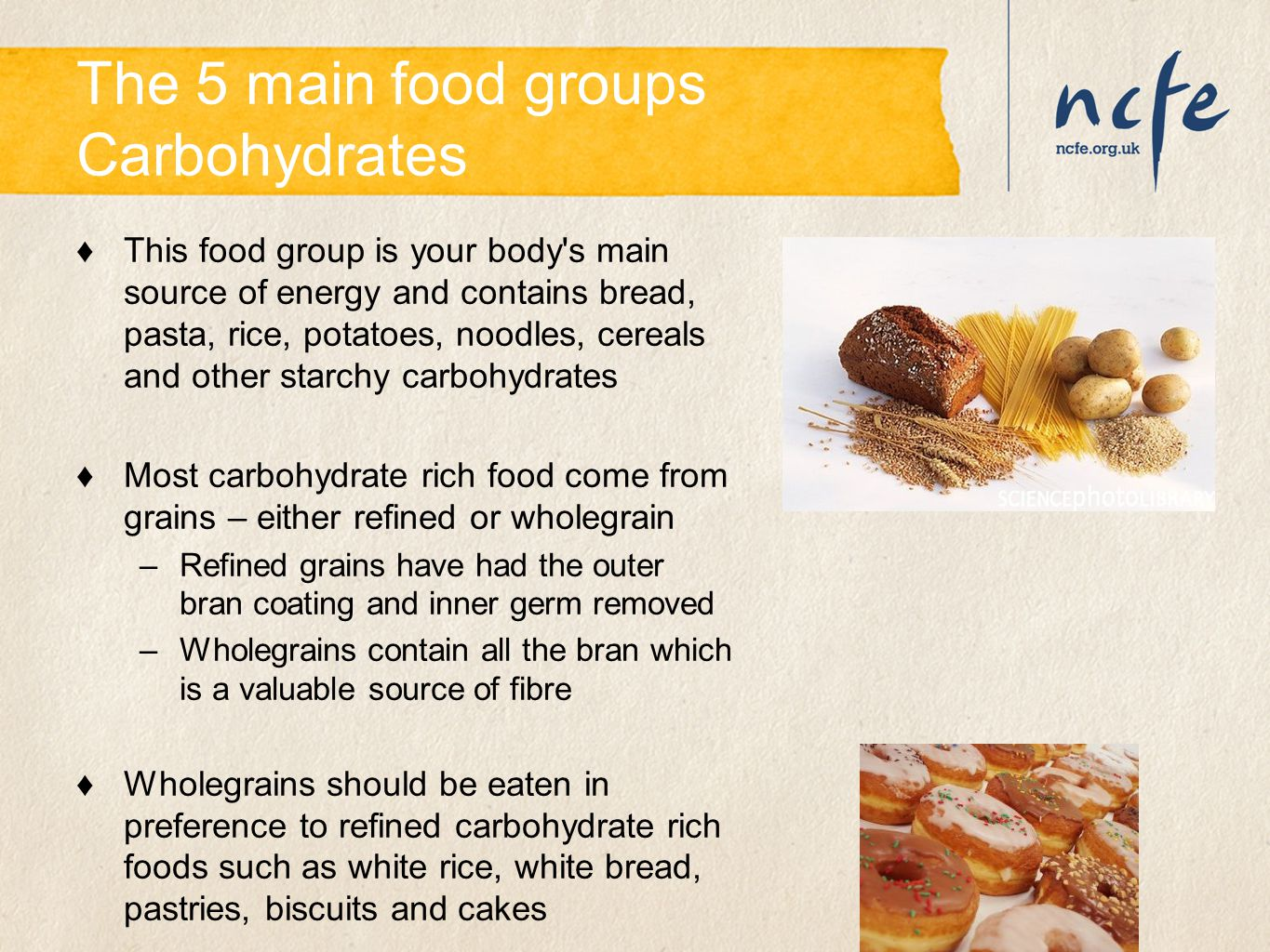 The 5 main food groups Carbohydrates