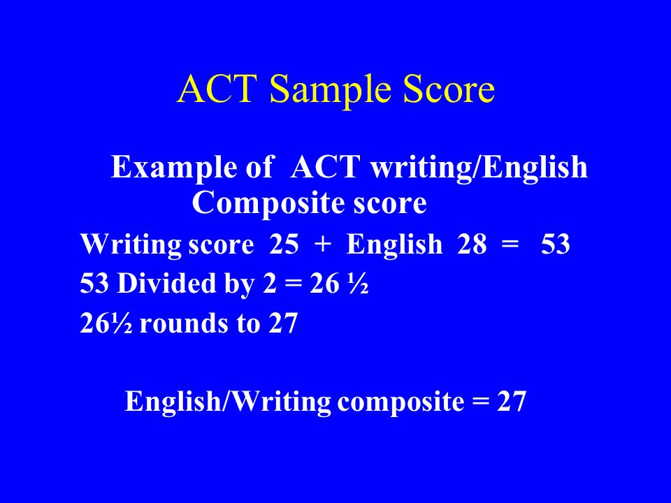 ACT Sample Score Writing score 25 + English 28 = 53