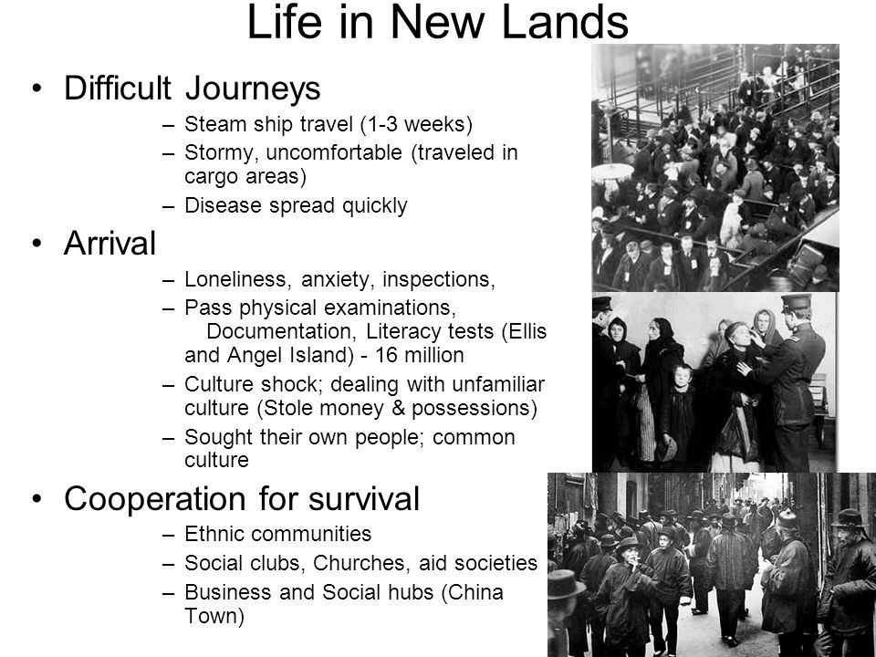 Life in New Lands Difficult Journeys Arrival Cooperation for survival
