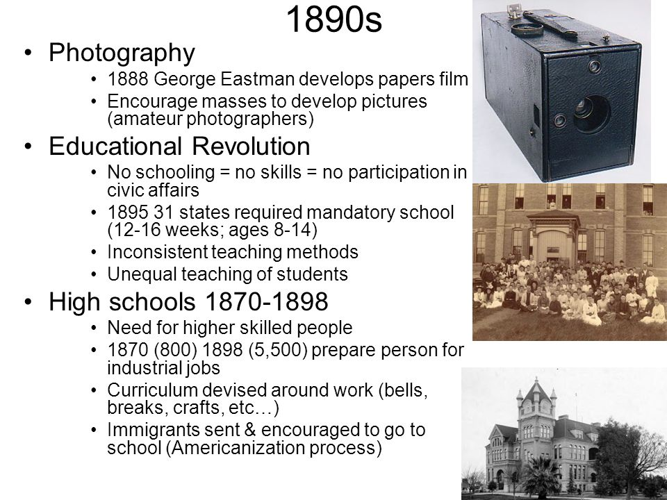 1890s Photography Educational Revolution High schools 1870-1898