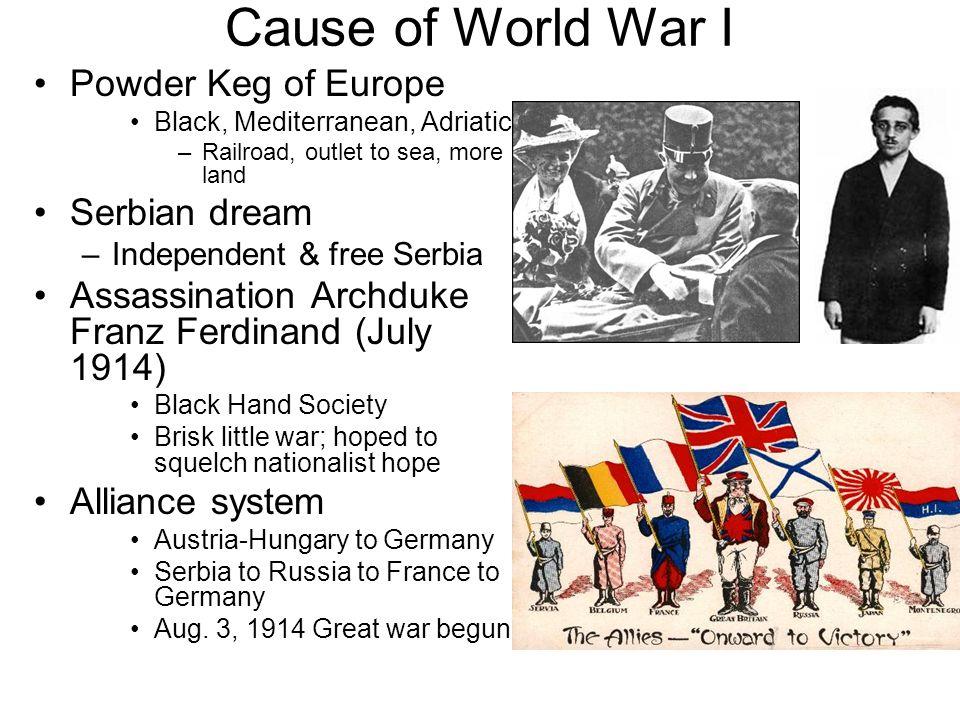 Cause of World War I Powder Keg of Europe Serbian dream
