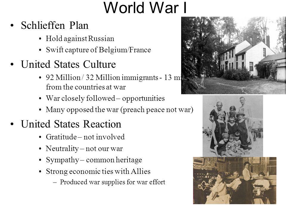 World War I Schlieffen Plan United States Culture
