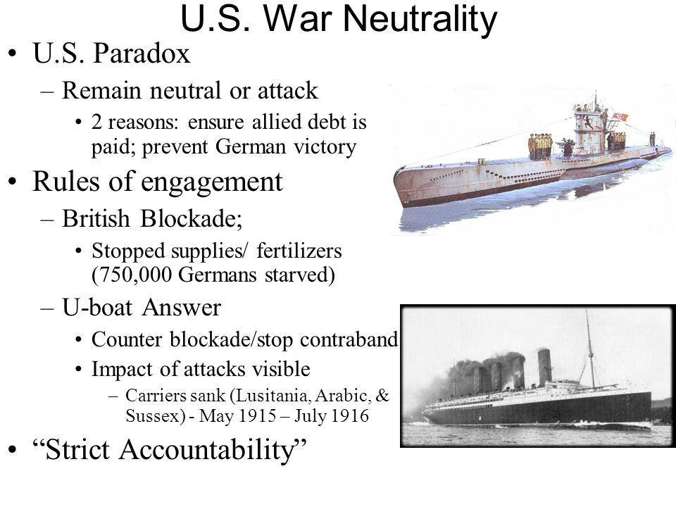 U.S. War Neutrality U.S. Paradox Rules of engagement