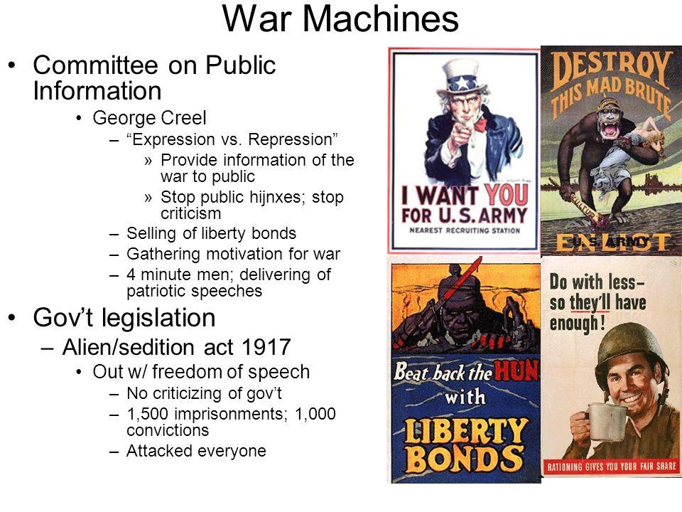War Machines Committee on Public Information Gov't legislation
