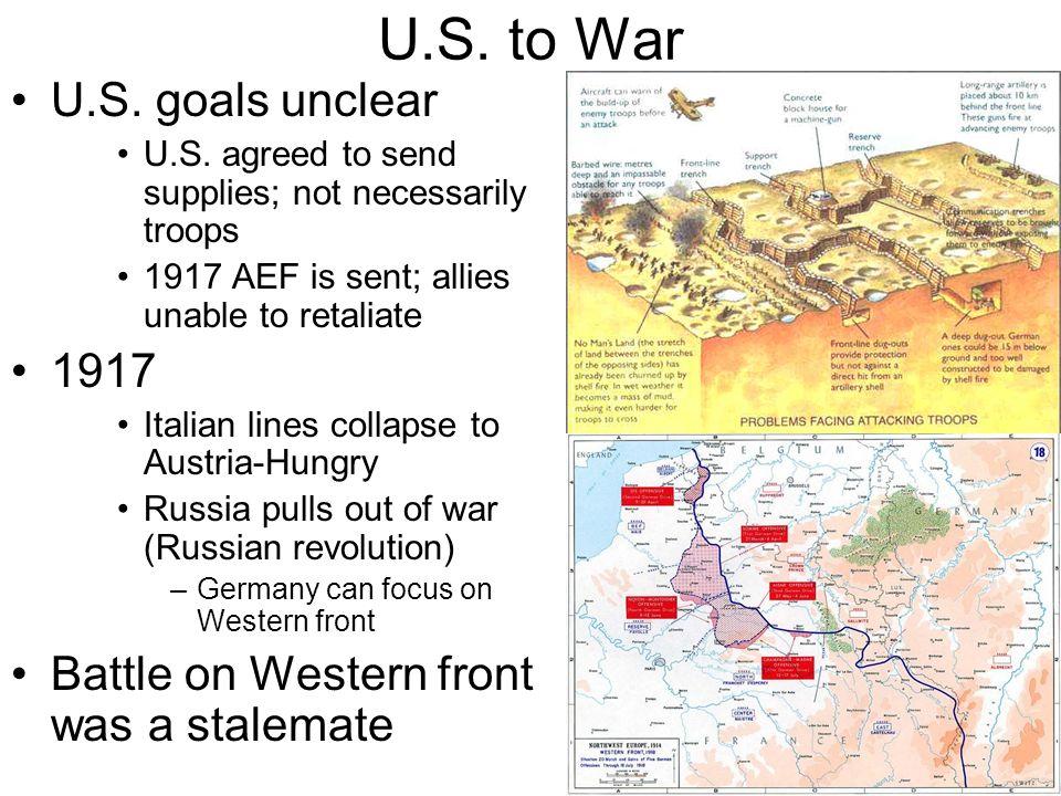 U.S. to War U.S. goals unclear 1917