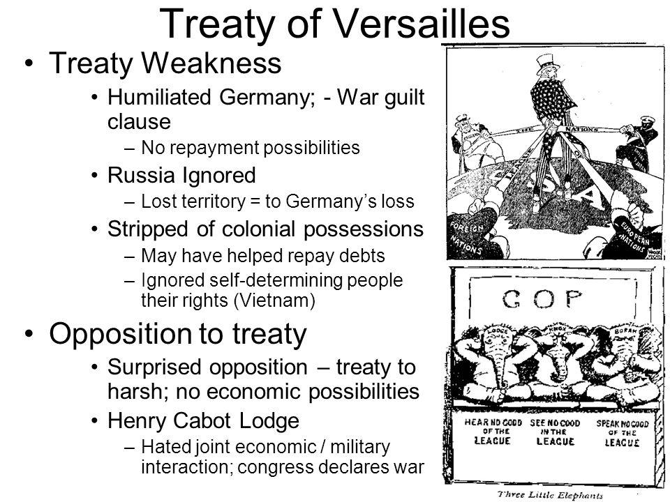 Treaty of Versailles Treaty Weakness Opposition to treaty