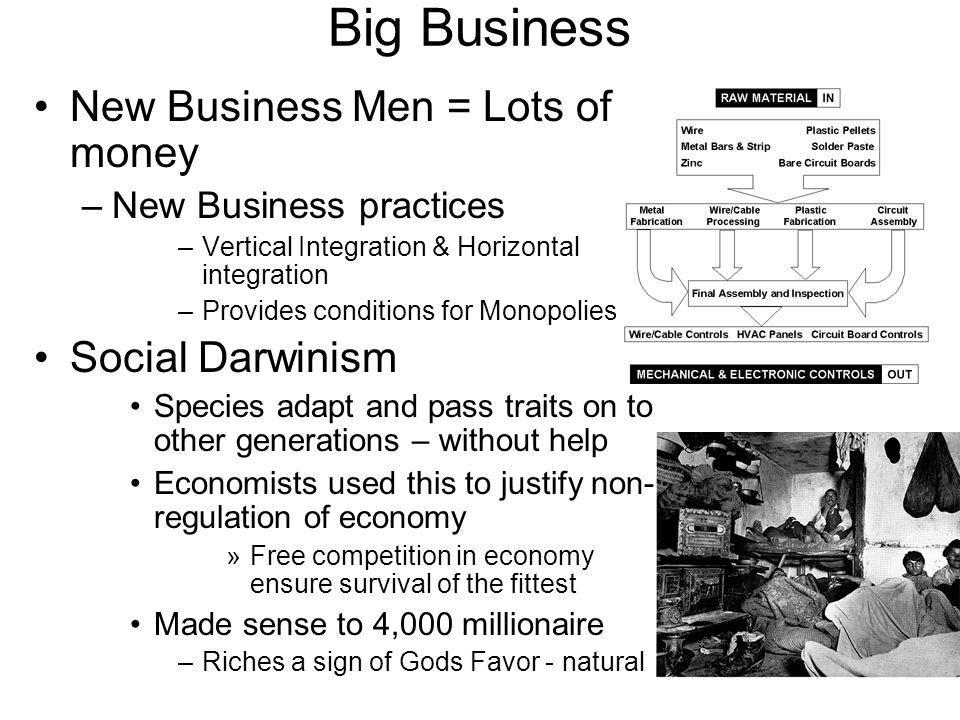 Big Business New Business Men = Lots of money Social Darwinism