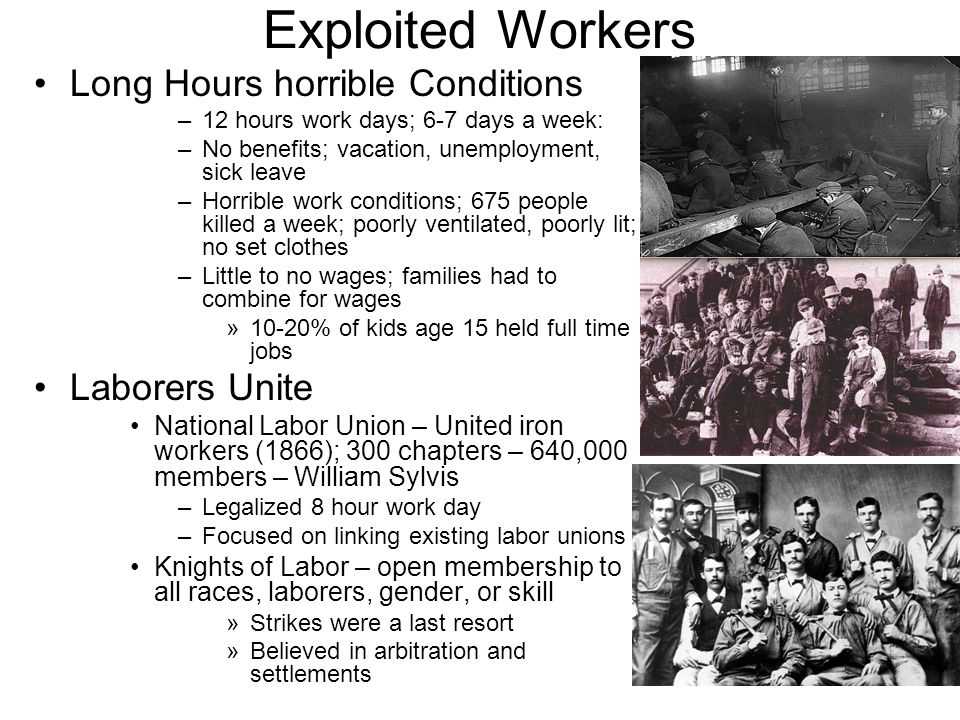 Exploited Workers Long Hours horrible Conditions Laborers Unite