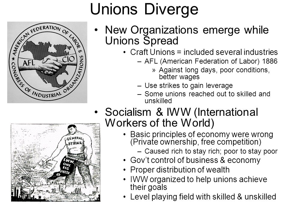 Unions Diverge New Organizations emerge while Unions Spread