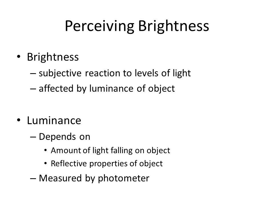 Perceiving Brightness