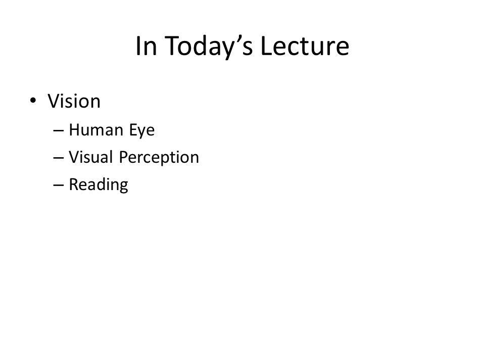 In Today's Lecture Vision Human Eye Visual Perception Reading 1