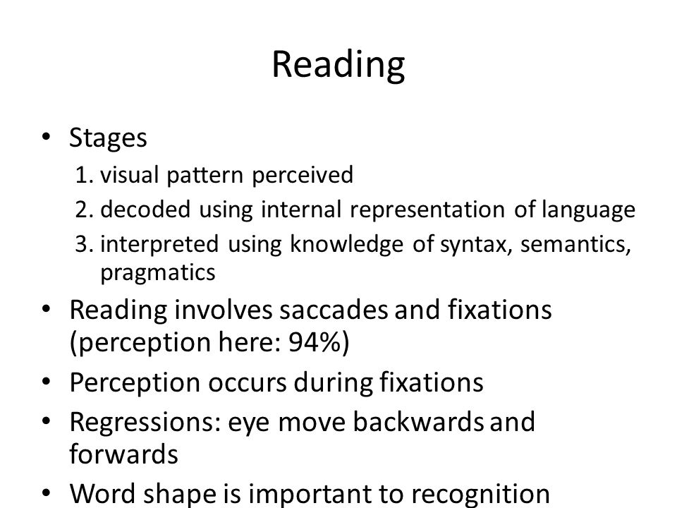 Reading Stages. visual pattern perceived. decoded using internal representation of language.