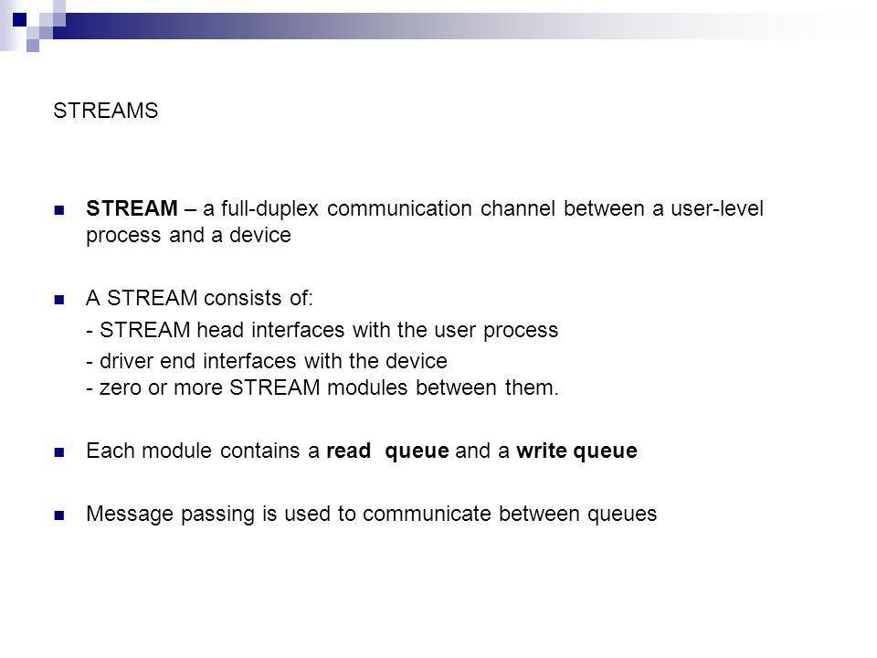 STREAMS STREAM – a full-duplex communication channel between a user-level process and a device. A STREAM consists of: