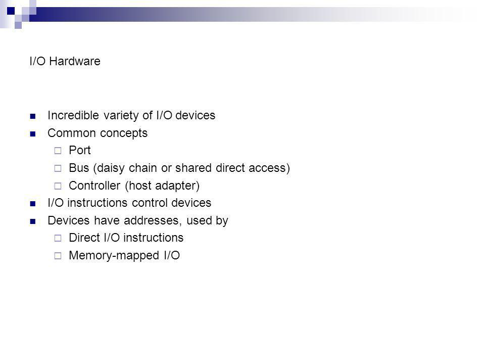 I/O Hardware Incredible variety of I/O devices. Common concepts. Port. Bus (daisy chain or shared direct access)