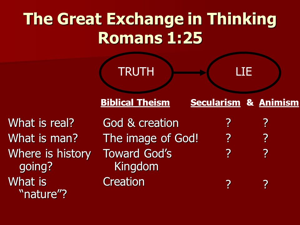 The Great Exchange in Thinking Romans 1:25