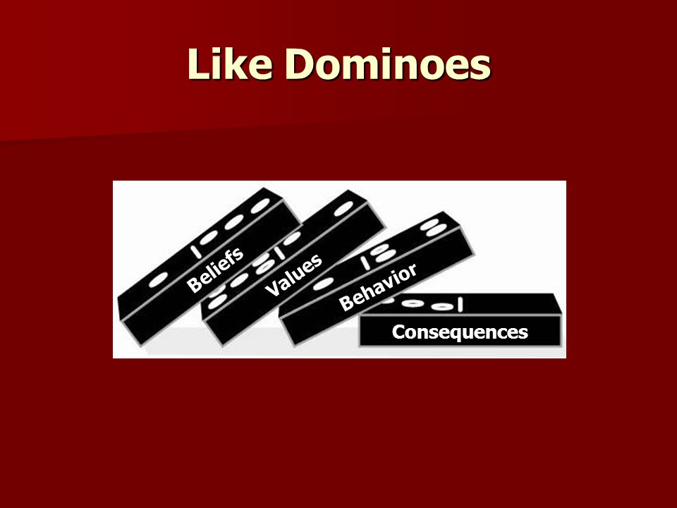 Like Dominoes Beliefs Values Behavior Consequences