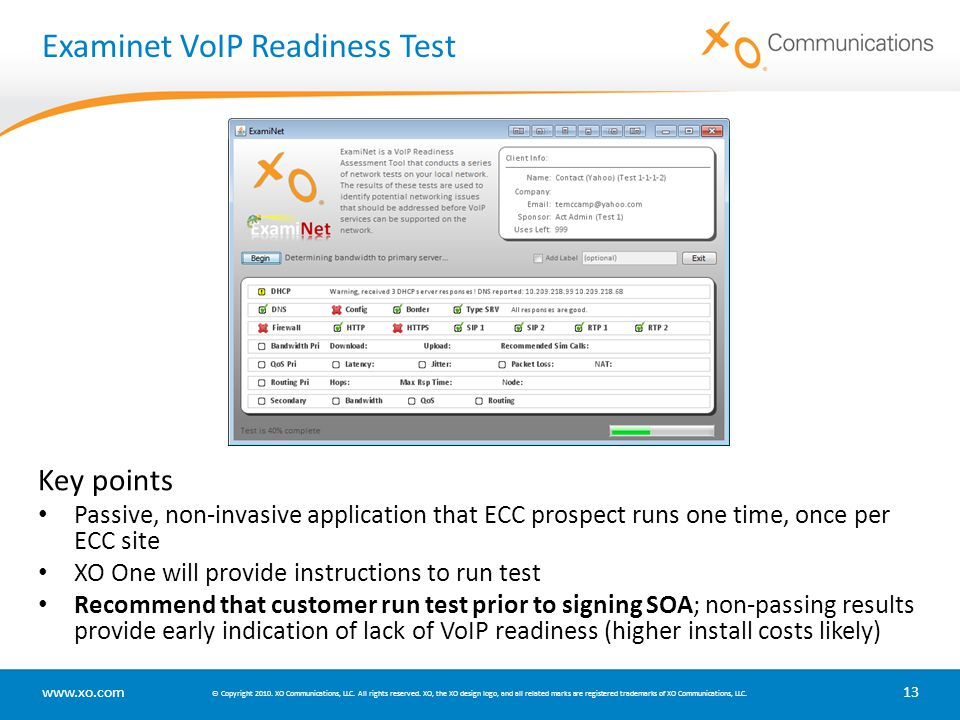 Examinet VoIP Readiness Test
